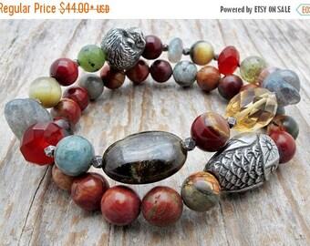 owl bracelet,hedgehog bracelet, gemstone bracelet, owl jewelry, bird jewelry, stretch bracelet, stacking bracelet, aviary gift, gift for her