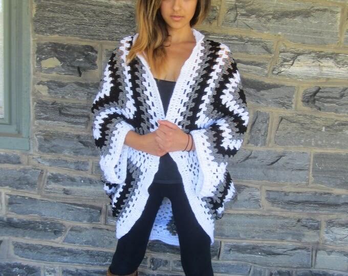 CROCHET  CARDIGAN, oversize cocoon cardigan, cocoon poncho, Plus size cardigan, women's cardigan, wrap, oversize sweater, plus size shrug
