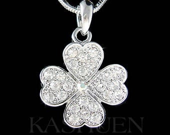 Swarovski Crystal Irish Saint St Patrick's Patty's Day Lucky Clear Curved Heart Four Leaf CLOVER SHAMROCK Jewelry Necklace Christmas Gift