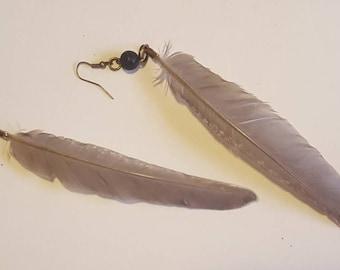 Essential Oil Diffuser Guinea Feather Earrings. Bohemian Earrings. Hippie Earrings. Festival Jewelry. Oil Diffuser.