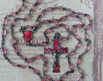 Vintage Rosary Pink Color Lined Beads