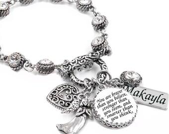 Inspirational Jewelry, Jewelry with Quote, Crystal Bracelet, Inspirational Bracelet, Personalized Inspirational Charm Bracelet