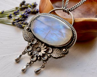 Rainbow Moonstone Necklace, Botanical Metalwork, Silver and Stone Statement Necklace, Modern Rustic Jewelry, Artisan Jewelry