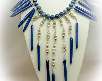 Denim Lapis Statement Necklace and Earrings Set