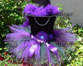 "SUMMER SALE 20% OFF Halloween Witch Tutu Costume - Jazmyn, the Woodland Witch - Green Purple - Sewn 9"" Pixie Tutu & Witch Hat - sizes up to"