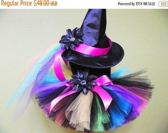 SUMMER SALE 20% OFF Witch Tutu Costume - Rainbow, the Punk Rock Witch - Custom Sewn - sizes Newborn up to 5T - Black with Bright Rainbow Col