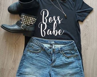 Boss Babe Graphic Tee Black and White T-shirt for girls, teens, women, Christmas Gift for Strong Woman, Entrepreneur, MLM, Super Moms