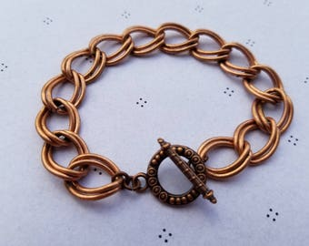 Antiqued Copper Bracelet for charms with Clasp 7.5 inches
