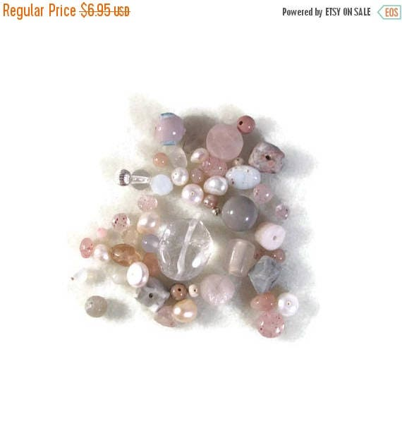 Memorial Day SALE - Gemstone Bead Mix, Pink, White, Cream Gemstone Grab Bag, 50 Beads for Making Jewelry, Assorted Shapes and Sizes (L-Mix7d