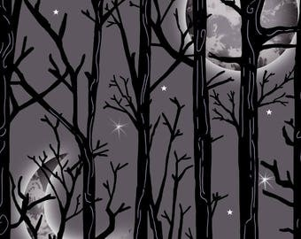 NEW from Henry Glass, Fright Night, Metallic Moon scene, on black/grey,  yard