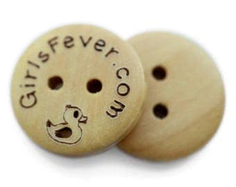 100 pcs Personalized button plain wooden button 20mm, custom buttons