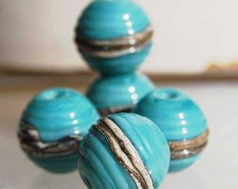 6 Turquoise Ivory Ribbed Spheres  , handmade glass beads, lampwork beads by Beadfairy Lampwork, SRA