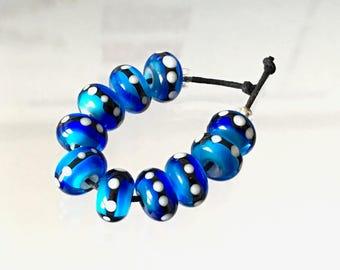 10 Blue Monarch Rounds , Aqua Blue & Cobalt Blue by Beadfairy Lampwork, SRA