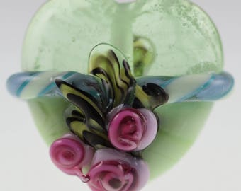Light Green Ribbon & Rose Heart Focal Bead Handmade Lampwork