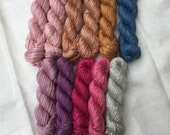 Reserved listing for Julie - Mini skein 20g Hand Dyed Worsted weight Silk Yarn - selection