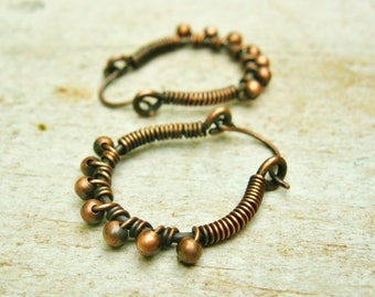 Antiqued Copper Wire Wrapped Beaded Hoops - copper wire jewelry