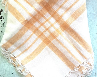 """Pristine Vintage 33"""" Linen Square Tablecloth with Crocheted Edge"""