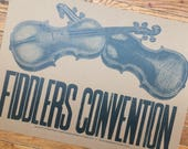 FIDDLERS CONVENTION hand printed letterpress poster kraft paper