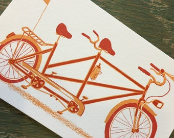 TANDEM BICYCLE Built for Two Print Hand Printed Letterpress with Kraft Envelope