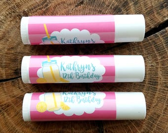 Personalized Lip Balm Stickers -- Lemonade -- Custom Chapstick Labels, Shower Favors, Birthday Favors