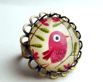 Vintage ring, beautiful bird pink BA168