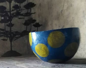 papier mache bowl in blue with yellow dots