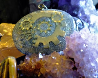 Steampunk Gears Resin Pendant
