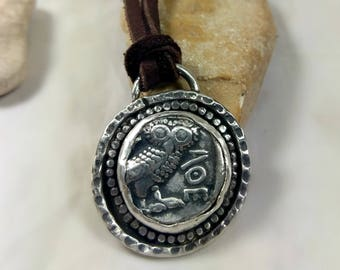 Ancient Greek Coin Pendant, Athena owl ancient coin necklace , owl coin Pendant, Ancient coin Jewelry