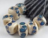 Lampwork Glass Beads, Handmade lampwork bead set, jewelry supplies, lampwork spacer bead, artist lampwork, Chunky Glass Beads, Oregon Coast