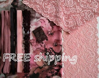 FREE Ship DIY Fabric + Notions Dusky Pink Bouquet for 1 BRA + Panty by Merckwaerdigh