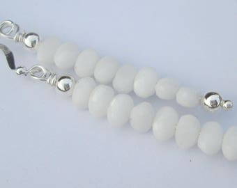 Pierced Earrings petite White Glass Nailhead stack beads pierced dangle handmade earrings Gift For Her by Ziporgiabella