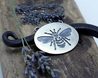 Sterling Silver Honey Bee Necklace - Honeybee Jewelry Hand Sawn