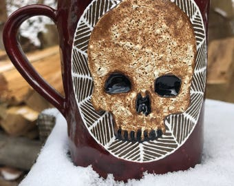 Ceramic Skull Mug in Maroon