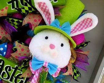 Easter bunny front door wreath spring colorful hand painted sign ribbon filled wreath