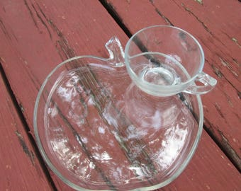 Vintage Glass Snack Sets - Three Glass Luncheon Plates and Cups - Choice of Apples or Triangles