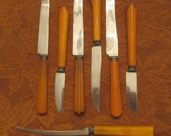 Butterscotch Bakelite Flatware - Seven Assorted Bakelite Flatware Knives - 1940s Flatware