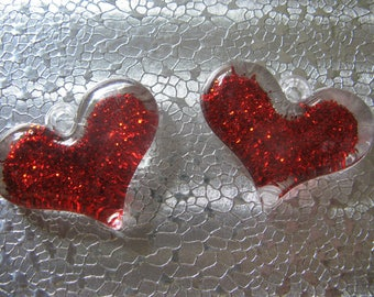 Acrylic Red Glitter Heart Charm 4 Charms 40mm x 30mm