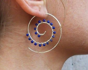 Sterling Silver-Lapis Lazuli-Swirl-Spiral-Beaded-Hoop Earrings / Free US Shipping