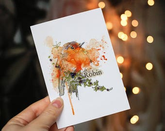 Robin Red Breast Print. Robin Art Print. Robin. Stocking Filler. Gift for Bird Lovers. Robin Art.  Christmas Bird.