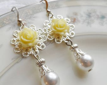 75% Off Price Sale, Yellow Rose, Silver Filigree, Faux Vintage Pearl Bead