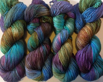 50/50 merino silk hand dyed 4ply yarn Iridescence 380 yards  approx