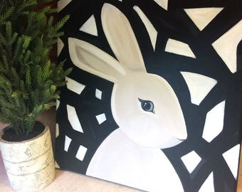 Abstract bunny - original wall art - rabbit painting - nursery decor - cottage decor - black - modern bunny - modern woodland decor
