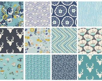 12 FABRIC BUNDLE - Hello Bear, Meadow, Morning Walk (Navy / Blue / Teal) - AGF - Woodland Bonnie Christine Leaves Deer Antlers Floral