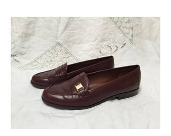 25% OFF Maroon Leather Vintage Loafers - Etienne Aigner Size 7 1/2 W