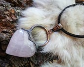 Electroformed Rose Quartz Heart Necklace | Electroplated Gemstone Heart | Love Stone | Unique Crystal Jewelry | Reiki Stones and Chakras