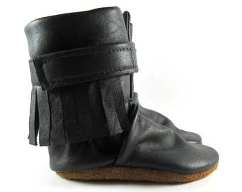 6 to 12 Month, Soft Sole, Black, Reclaimed Leather, Baby Boots, High Top Moccasins