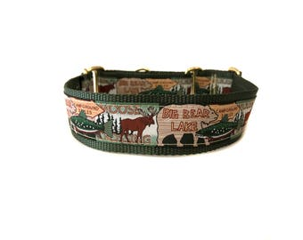 Wide 1 1/2 inch Adjustable Buckle or Martingale Dog Collar in Bear Lake