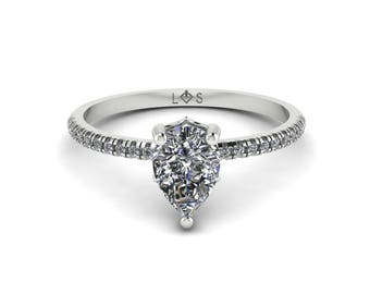 """Diamond Engagement Ring Semi Mount - 5x7mm Pear """"Lola"""" Solitaire Ring by Laurie Sarah - add the center stone of your dreams - LS5131"""