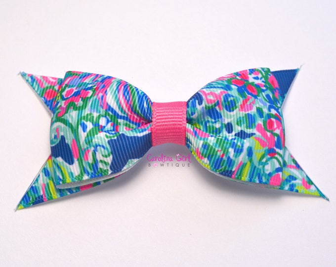 """Exotic Escapade Bow ~ 3.5"""" Hairbow ~ Lilly Inspired ~ Small Hair Bow ~ Girls Barrette ~ Toddler Bow ~ Hair Clip ~ Girls Hair Bow"""