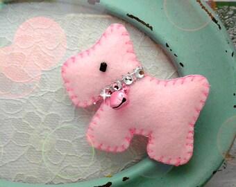 Pink Scotty dog hair clip, Handmade Felt padded Scotty dog hair barrette Scotty dog hair elastic, Ponytail holder, pigtails